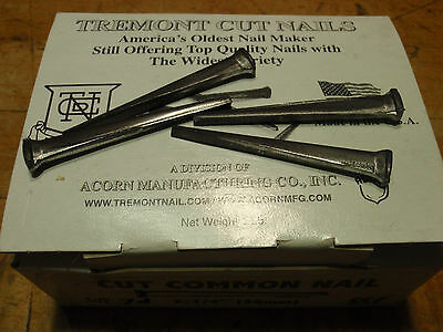 "2 1/4"" inch Common CUT NAILS for Furniture New in Box 1 pound 78 count 7D"