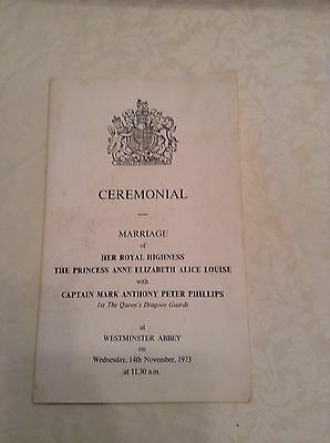 Royal Wedding Cerimonial time table of Princess Anne and Mark Phillips