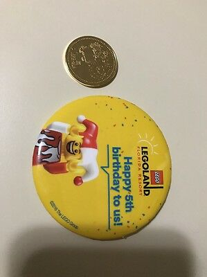 Vry Htf Legoland 5th Birthday 24kt Gold Plated Coin Medallion Plus Button Pin