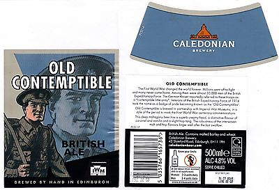SCOTLAND CALEDONIAN Bry - OLD CONTEMPTIBLE WW1 Soldier Beer Label