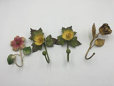 Estate Vintage Gilt Gold FLOWER Shabby Chic Wall HOOK LOT SET Hooks Bracket