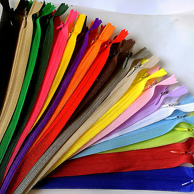 5-50pcs Nylon Invisible Soft tulle Coil Zippers Sewing 16inch (20Color)