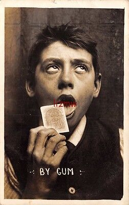 POLITICAL 'BY GUM' MAN LICKS NATIONAL HEALTH INSURANCE STAMP 7d PHOTO CARD