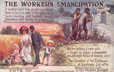 Political The Worker's Emancipation 1909 Peoples Budget & Workhouse Comic Card