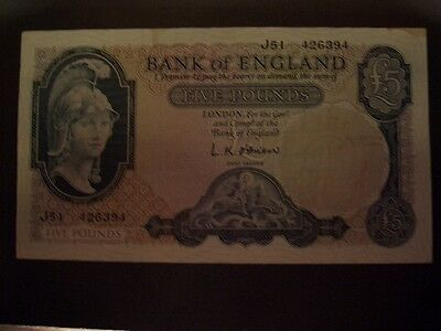 Banknote of England £5 O'BRIEN J51