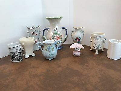 Vintage 9 Pc. Assorted Ceramic/milk Glass Toothpick Holders And Vases