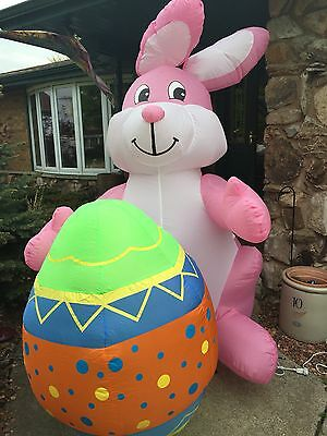 GIANT 8 FT AIRBLOWN INFLATABLE  Easter Bunny Easter Egg Gemmy Light Up
