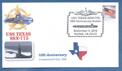 Greytcovers Naval Cover Uss Texas Ssn-785 10Th Anniversary Of Commissioning