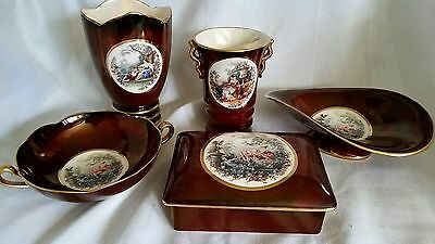 Carlton Ware Rouge Royal Vanity Set Hand Painted Victorian  w/ Original Lables