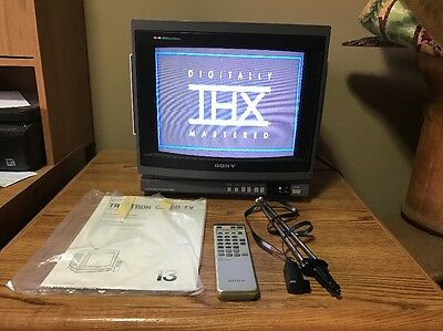 "Sony KV-1380R 13"" Trinitron Color TV W/Built in Stereo Speakers + Remote &Manual"