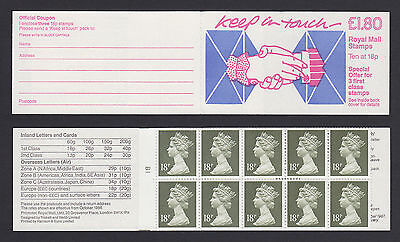 1987 FU2A £1.80 Keep in Touch Handclasp & Envelope cyl B1 Folded Booklet