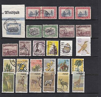 South West Africa - Interesting small selection with Postmarks  (SWA 1809 1)