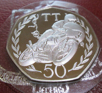 1981 IOM ISLE OF MAN SILVER PROOF 50p TT. JOEY DUNLOP BOXED WITH COA 5000 LIMIT