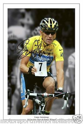 Lance Armstrong SIGNED 6x4 photo Tour De France 7 Time Winner Cycling