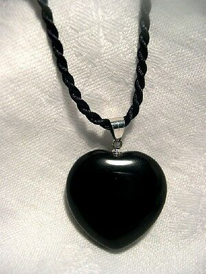 "BLACK OBSIDIAN Heart Pendant Necklace 18"" Healing Protection 22860"