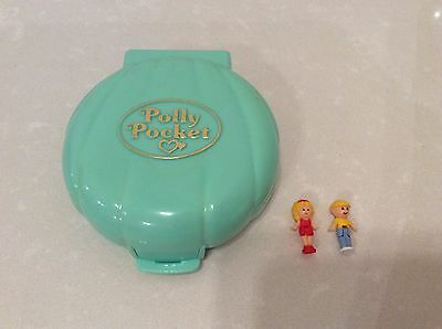 Vintage 1989 Polly Pocket Compact 'Beach House' Turquoise Shell, 100% Complete