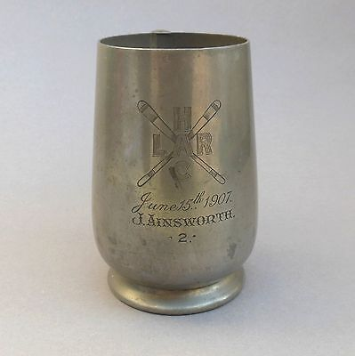 1907 ~ 1 Pint Pewter Trophy Tankard ~ H.L.A.R.C Rowing Club ~ J AINSWORTH / York
