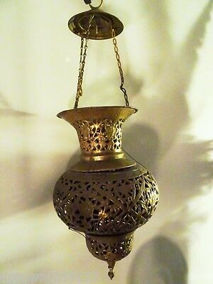 antique MOROCCAN HANGING LANTERN pierced filigree brass PERSIAN LAMP zen decor