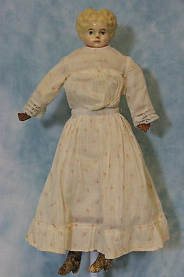 "13"" German Antique Papier Mache Composition Doll Blonde Hair Leather Hands Cloth"