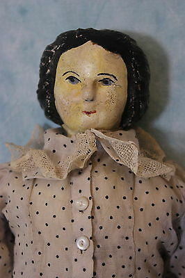"""18.5"""" Antique Carved painted Wood Doll Cloth Straw Stuffed Body 1880s Germany"""
