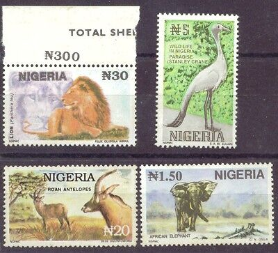1993- Nigeria -Wild Life  Definitive - set of 4 NHM