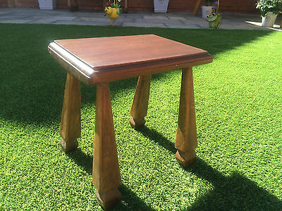 "Vintage Stool Rustic Oak 12"" High, 4 Angular Legs Milking Stool"