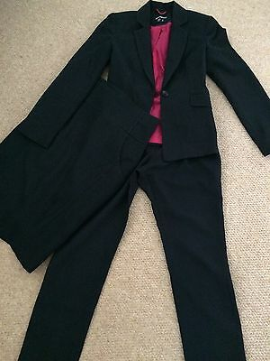 Lovely 3 Piece Black  Suit With Slim Fit Trousers & Pencil Skirt Size 8