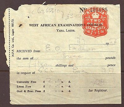 1958 - Nigeria - Two Pence Stamp Duty, used receipt