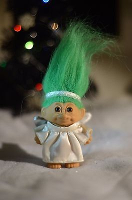 Russ Vintage ultra RARE small Angel Troll TREE ORNAMENT Mint Cond CHRISTMAS