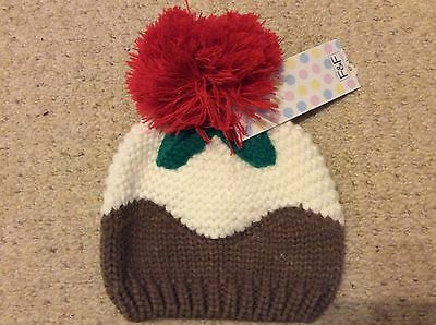 F&F Christmas Pudding Woollen Hat 0 - 6 Months BNWT