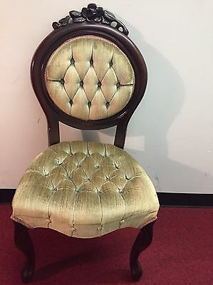 Vintage Victorian Style Green Chair Carved Wood