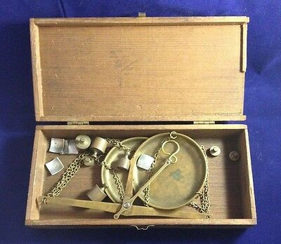 Antique Vintage German Balance Gold Scale With Weights, Markers & Box