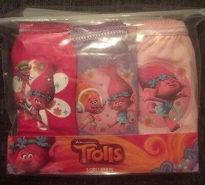 Girls Trolls PINK Knickers Underwear Pants Briefs 3 Pack Dreamworks Free P&P
