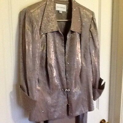 Davids Bridal Mother of the Bride 2pc Champagne Gown w/jacket Size 14W Stunning!