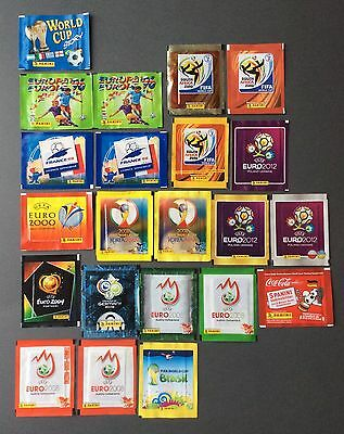 22 Panini Euro and World Cup sticker packets (1996 - 2014) Unopened