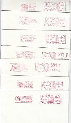 United Nations 7 red meter postmarks on covers