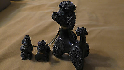 Vintage 1950's BLACK Spaghetti Poodle & two cute Puppy Figurines