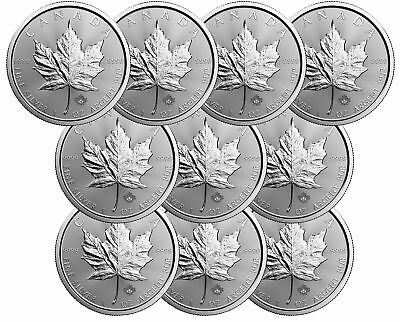 Lot of 10 - 2017 $5 1oz Canadian Silver Maple Leaf Coins .9999 Fine BU