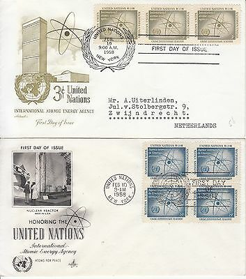 United Nations 1958 Atomic Energy Agency 2 FDCs