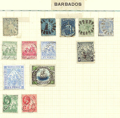Barbados, used Selection of 13 vintage stamps
