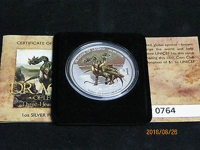2012 - DRAGONS of LEGEND - 1oz SILVER PROOF -Three Headed Dragon 764/5000