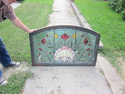 c.1888 Antique Stained Glass Transom Window, from the Hotel Ryan, St Paul Minn