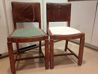 Two Antique Wood Dining Chairs In Need Of Refurb Shabby Chic/upholstery Project?