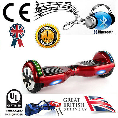 """Red LED 6.5"""" Hoverboard Swegway + Bluetooth Speaker & UL CE Approved Charger"""