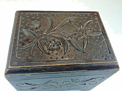Antique German 19th C. Black Forest Hand  Carved Floral Wood Music Box