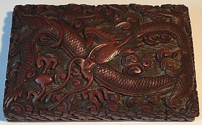 Antique Chinese Carved Cinnabar Lacquer Dragon Box, Qing
