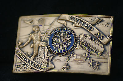 Vintage UNITED AS LEGIONNAIRES, ENAMEL INLAY Brass Belt BUCKLE, American Legion
