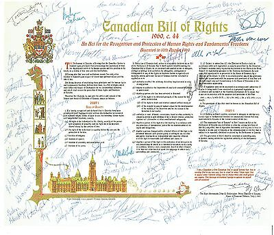 Canadian Bill of Rights signed by Conservative caucus including a former PM
