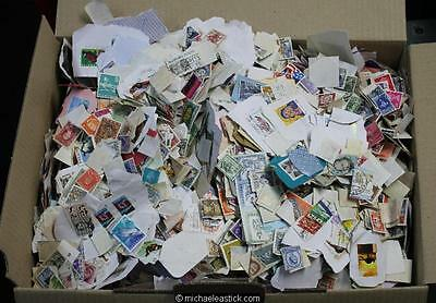 Large box (4kg) Australian and World stamps on and off paper - great value