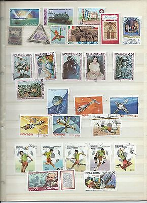 Nicaragua stamps. 2 pages of mainly used/CTO from 1981 , 1928 & 1983  (Y141)